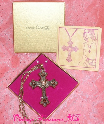 Image for <b><span style='color:purple'> Sarah Coventry PEACE Cross Pendant/Chain Necklace Limited Edition Set Vintage 1975 Regency/Victorian Style Antiqued Finish MINT (Original Box/Paperwork) </span></b><span style='color:purple'>     <b><span style='color:red'> ***USPS FIRST CLASS SHIPPING INCLUDED – DOMESTIC ORDERS ONLY!***</span></b><span style='color:purple'>