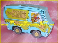 "Image for Scooby-Doo & Gang ""The Mystery Machine"" Van-shaped Hinged Popcorn Tin/Candy Container/Box 1998 (EMPTY OF FOODSTUFFS )  <b><span style='color:red'>*****PRIORITY MAIL SHIPPING INCLUDED – DOMESTIC ORDERS ONLY!*****</span></b><span style='color:purple'>"