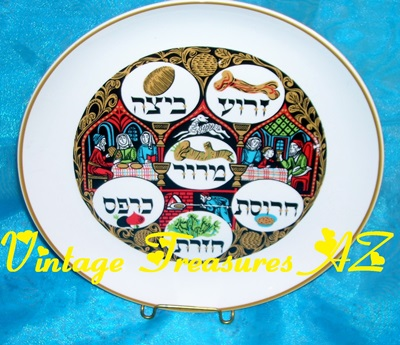 Image for <b><span style='color:purple'>  Seder Passover/Pesach Plate Naaman Israel Vintage 1970s-1980s Handpainted Gilded Porcelain Jewish Festival Holiday Platter/Tray Judaica </span></b><span style='color:purple'>     <b><span style='color:red'>USPS RETAIL GROUND SHIPPING INCLUDED – DOMESTIC ORDERS ONLY!</span></b><span style='color:purple'>