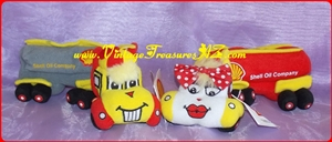"Image for Shell Oil Company ""Shane & Shelly, The Little Shell Tankers!"" Soft Plush Oil Tanker Trucks Advertising Premium Bean Bag Plush Toys Pair  <b><span style='color:red'>*****FIRST CLASS MAIL SHIPPING INCLUDED – DOMESTIC ORDERS ONLY!*****</span></b><span style='color:purple'>"