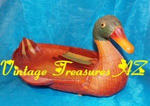 Image for Shanghai Handicrafts Duck Bird Wicker Basket Vintage ca 1950s-1970s Decorative Figural Centerpiece People's Republic of China   <b><span style='color:red'>USPS STANDARD POST SHIPPING INCLUDED – DOMESTIC ORDERS ONLY!</span></b><span style='color:purple'>