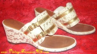 Image for Lace & Metallic Gold Pair of Vintage ca 1940s-1960s Ladies Platform Wedge Slide Open Front & Back Shoes  <b><span style='color:red'>  *****PRIORITY MAIL SHIPPING INCLUDED – DOMESTIC ORDERS ONLY!*****  </span></b><span style='color:purple'>