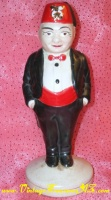 Image for Shriners/Shriner Man/Member in Formalwear & Fraternal Organization Fez Hat Ceramic Figurine Vintage ca 1930s-1960s  <b><span style='color:red'>*****PRIORITY MAIL SHIPPING INCLUDED – DOMESTIC ORDERS ONLY!*****</span></b><span style='color:purple'>