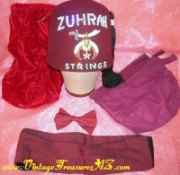 "Image for Shriners/Shriner Minnesota Masonic ""Zuhrah Strings"" Jeweled Fez Hat, Invizo Cummerbund & Ormond Bow Tie Vintage ca 1960s-1970s Formal Wear Set + BONUS - 3 Velveteen & Cloth Carrying/Storage Bags  <b><span style='color:red'>*****SHIPPING INCLUDED – DOMESTIC ORDERS ONLY!*****</span></b><span style='color:purple'>"