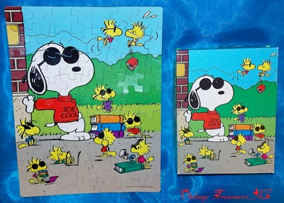 "Image for <b><span style='color:purple'> Peanuts ""Joe Cool"" Snoopy and Friends Woodstock Jigsaw Puzzle Golden #4718 Vintage 1971 Original Box Complete/Like New (63 Extra Large Pieces) </span></b><span style='color:purple'>    <b><span style='color:red'>***USPS PRIORITY MAIL SHIPPING INCLUDED – DOMESTIC ORDERS ONLY!***</span></b><span style='color:purple'>"