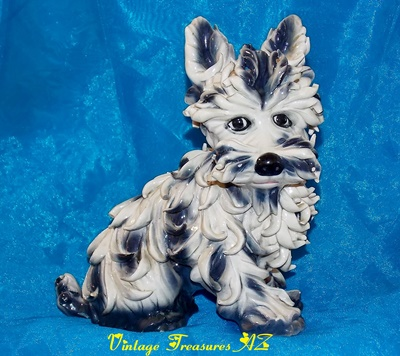 Image for <b><span style='color:purple'> Spaghetti Ware Terrier Dog Figurine/Statue Italy Vintage 1940s-1960s Hand Painted Italian Pottery (heavy enough to use as Bookend) #2 of 2  </span></b><span style='color:purple'>   <b><span style='color:red'>***USPS PRIORITY MAIL SHIPPING INCLUDED – DOMESTIC ORDERS ONLY!***</span></b><span style='color:purple'>