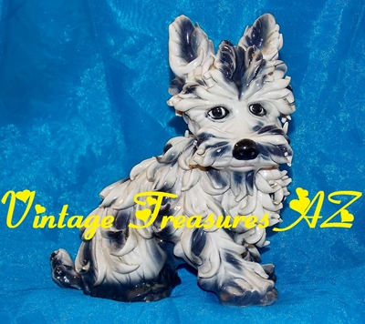 Image for Spaghetti Ware Terrier Dog Figurine/Statue Italy Vintage 1940s-1960s Hand Painted Ceramic Porcelain (heavy enough to use as Bookend) #2 of 2    <b><span style='color:red'>***USPS PRIORITY MAIL SHIPPING INCLUDED – DOMESTIC ORDERS ONLY!***</span></b><span style='color:purple'>