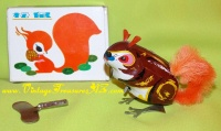 Image for Clock Work/Clockwork Squirrel Vintage ca 1970s-1980s Tin Lithographed Wind-Up Toy with Key in Original Box   <b><span style='color:red'>*****FIRST CLASS SHIPPING INCLUDED – DOMESTIC ORDERS ONLY!*****</span></b><span style='color:purple'>