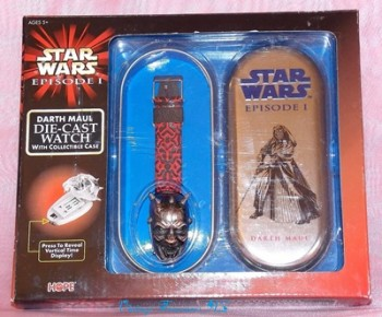 Image for <b><span style='color:purple'>    Star Wars Episode I Movie 1999 Darth Maul Die-Cast Watch & Collectible Case Set (New in Original Packaging - Never Removed from Box) </span></b><span style='color:purple'>    <b><span style='color:red'>***USPS  PRIORITY MAIL SHIPPING INCLUDED – DOMESTIC ORDERS ONLY!***</span></b><span style='color:purple'>