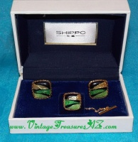 Image for Sun Eagle Vintage CA 1960s-1970s Tiger-striped Design Cloisonne Wireless Enamel Men's Cufflinks/Cuff Links & Tie Tack Set in Original Shippo Case  <b><span style='color:red'>  *****FIRST CLASS SHIPPING INCLUDED – DOMESTIC ORDERS ONLY!*****  </span></b><span style='color:purple'>