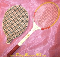 "Image for Tony Trabert Vintage 1950s-1960s Facsimile-autographed ""Famous Player Series"" Wilson Victory Tennis Racquet with Plaid Racquet Cover  <b><span style='color:red'>  *****PRIORITY MAIL SHIPPING INCLUDED – DOMESTIC ORDERS ONLY!*****  </span></b><span style='color:purple'>"