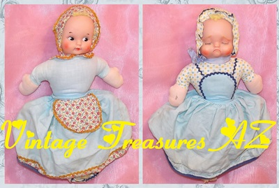 Image for Topsy-Turvy Knickerbocker Happy/Sad Faces Pioneer/Prairie Girl Multiface Double-faced Two-faced Two-in-One Vinyl & Cloth Rag Baby Doll Vintage 1960s  <b><span style='color:red'>USPS PRIORITY MAIL SHIPPING INCLUDED – DOMESTIC ORDERS ONLY!</span></b><span style='color:purple'>