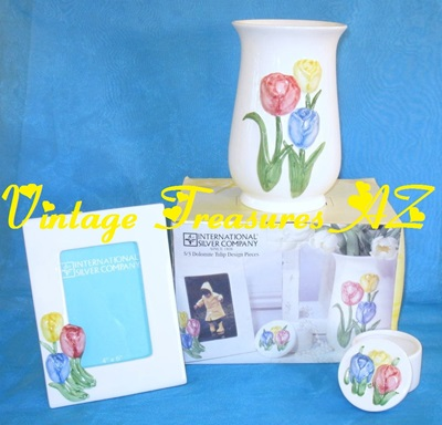 Image for International Silver Company Dolomite Tulip 4-piece Ceramic Set #11114711 in Original Box JC Penneys Exclusive Mother's Day Holiday Promotional (3-D Tulips Design:  Picture Frame + Trinket Box + Vase)  <b><span style='color:red'>USPS STANDARD POST SHIPPING INCLUDED – DOMESTIC ORDERS ONLY!</span></b><span style='color:purple'>