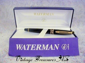 Image for <b><span style='color:purple'> Waterman Paris France Vintage Black Lacquer & Gold Expert Fine Point Fountain Pen in Original Gift Presentation/Storage Box + Instructions & International Lifetime Warranty Paper Insert - Unique Decorative Jeweled Button End Cap  </span></b><span style='color:purple'>  <b><span style='color:red'>***USPS FIRST CLASS SHIPPING INCLUDED – DOMESTIC ORDERS ONLY!***</span></b><span style='color:purple'>