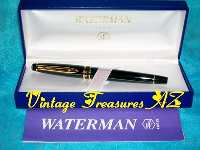 Image for Waterman Paris France Black Lacquer & Gold Expert Fine Point Fountain Pen in Original Gift Presentation/Storage Box + Instructions & International Lifetime Warranty Paper Insert - Unique Decorative Jeweled Button End Cap  <b><span style='color:red'>***USPS FIRST CLASS SHIPPING INCLUDED – DOMESTIC ORDERS ONLY!***</span></b><span style='color:purple'>