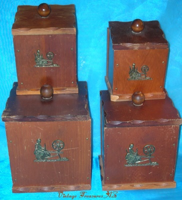 Wooden Kitchen Canisters Set Vintage Ca 1920s 1950s Pewter Spinning Wheel Lady Emblem Colonial Quaker Amish Shaker Design Trapezoid Shaped Plastic Lined Ground Shipping Included Domestic Orders Only
