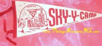Image for YMCA Sky-Y-Camp Prescott Arizona RARE Vintage ca 1938-1950s Souvenir Pennant (GREAT GRAPHICS)  <b><span style='color:red'>*****PRIORITY MAIL SHIPPING INCLUDED – DOMESTIC ORDERS ONLY!*****</span></b><span style='color:purple'>