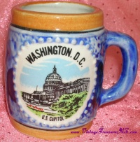Image for Washington D.C. U.S. Capitol Souvenir Vintage ca 1950s-1960s Japan Miniature Ceramic Lusterware Mug   <b><span style='color:red'>  *****PRIORITY MAIL SHIPPING INCLUDED – DOMESTIC ORDERS ONLY!*****  </span></b><span style='color:purple'>