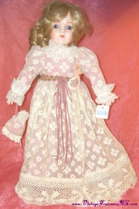 "Image for Schmid Bru-faced Musical Porcelain Antique Replica Doll (plays ""What I Did For Love - A Chorus Line"" Theme Song) Vintage 1982 <b><span style='color:red'>  *****PRIORITY MAIL SHIPPING INCLUDED – DOMESTIC ORDERS ONLY!*****  </span></b><span style='color:purple'>"