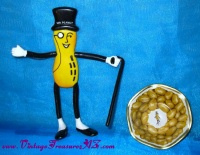 Image for Planters Peanuts Tin Nut Dish (Vintage 1960s-1970s) & 1991 Mr. Peanut Posable Toy Figure  <b><span style='color:red'>  *****FIRST CLASS SHIPPING INCLUDED – DOMESTIC ORDERS ONLY!*****  </span></b><span style='color:purple'>