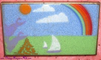 Image for Enameled Business Cards Holder/Cigarette Case/Powder Case with Sailboats & Rainbow Motif Vintage ca 1960s-1980s <b><span style='color:red'>  *****FIRST CLASS SHIPPING INCLUDED – DOMESTIC ORDERS ONLY!*****  </span></b><span style='color:purple'>