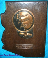 "Image for EAA (Experimental Aircraft Association) Vintage 1974 ""Arizona EAA Fly-In 74 Best Static Display"" Private Aviation Award Plaque <b><span style='color:red'>  *****PARCEL POST SHIPPING INCLUDED – DOMESTIC ORDERS ONLY!*****  </span></b><span style='color:purple'>"