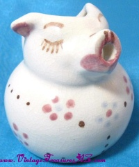Image for Pig Ceramic Creamer with Flowers Motif & Faux Crackling Pattern to Authentically Replicate an Antiqued Vintage Finish  <b><span style='color:red'>  *****PRIORITY MAIL SHIPPING INCLUDED – DOMESTIC ORDERS ONLY!*****  </span></b><span style='color:purple'>