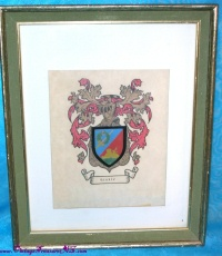 Image for Hinkle Family Crest/Coat-of-Arms Vintage ca 1940s-1970s Framed Ancestry Print Picture <b><span style='color:red'>  *****PARCEL POST SHIPPING INCLUDED – DOMESTIC ORDERS ONLY!*****  </span></b><span style='color:purple'>