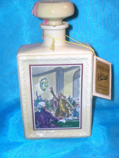 "Image for J W Dant ""Americana"" Patrick Henry ""Give Me Liberty or Give Me Death"" Speech Commemorative Bottling #3 Vintage 1969 Custard Milk Glass Decanter-Bottle  <b><span style='color:red'>  *****PARCEL POST SHIPPING INCLUDED – DOMESTIC ORDERS ONLY!*****  </span></b><span style='color:purple'>"