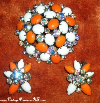 Image for Kramer Milk Glass & Rhinestones Orange & White Vintage Brooch/Pin & Earrings Set <b><span style='color:red'>  *****FIRST CLASS SHIPPING INCLUDED – DOMESTIC ORDERS ONLY!*****  </span></b><span style='color:purple'>