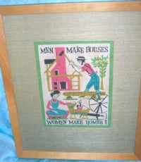 "Image for Amish-Quakers Imagery ""Men Make Houses, Women Make Homes"" Folk Art Saying Vintage Robert Darr Wert-by-Hand Shabby Chic Framed Linen Tea Towel Textile Picture  <b><span style='color:red'>  *****PRIORITY MAIL SHIPPING INCLUDED – DOMESTIC ORDERS ONLY!*****  </span></b><span style='color:purple'>"