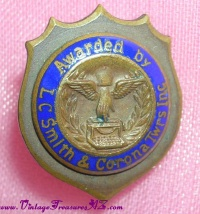 Image for LC Smith & Corona Typewriters Award Lapel Pinback Vintage ca early-1900s to 1930s <b><span style='color:red'>  *****FIRST CLASS SHIPPING INCLUDED – DOMESTIC ORDERS ONLY!*****  </span></b><span style='color:purple'>